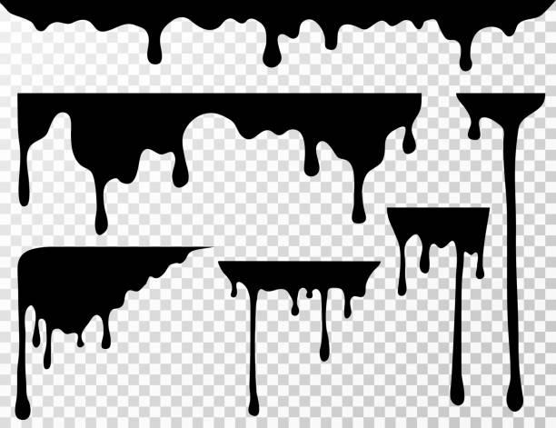 stockillustraties, clipart, cartoons en iconen met zwarte druppels olie vlek, vloeistof drupt of verf huidige vector inkt silhouetten geïsoleerd - verf