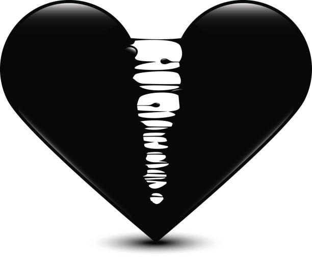 schwarz glänzend schwarz mit gebrochenem herzen vektor-illustration tropft - vertrauensbruch stock-grafiken, -clipart, -cartoons und -symbole