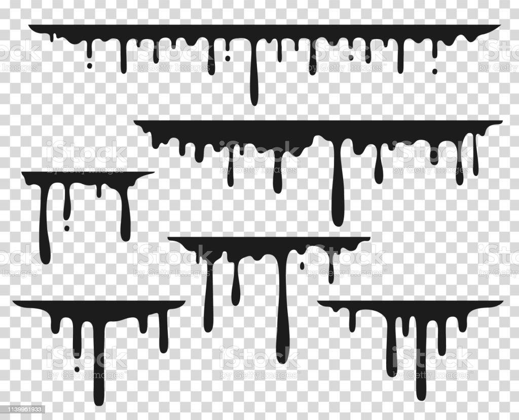 Tache Noire De Gouttes Eclaboussure De Peinture Liquide