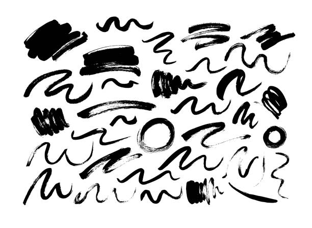 illustrazioni stock, clip art, cartoni animati e icone di tendenza di black dry brushstrokes hand drawn set. grunge smears collection with curled lines and circles. - scarabocchi