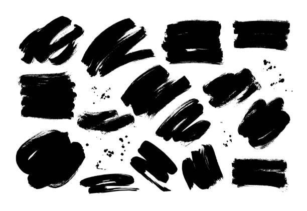 черные сухие мазки вручную нарисованы набором. grunge мазки вектор коллекции. - краска stock illustrations