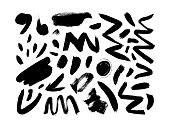 Black dry brushstrokes hand drawn vector set. Curved and zig zag black paint brushstrokes. Grunge smears collection with wavy, doodle, freehand lines, circles, dots, dashes. Abstract freehand drawing