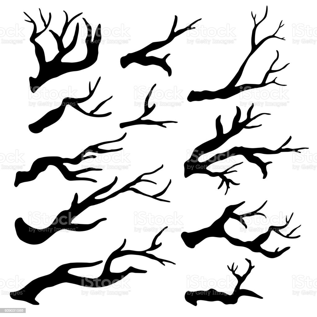 Black dry tree branches, twigs silhouettes vector art illustration