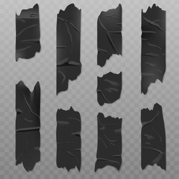 Black duct adhesive tape realistic illustration Black duct adhesive tape realistic vector illustration isolated on a transparent background. Badly glued with wrinkles, torn pieces of sticky scotch infamous stock illustrations