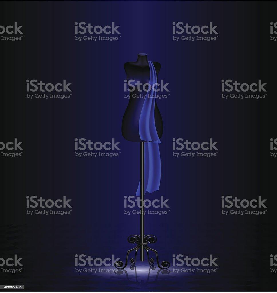 black dummy in the dark room royalty-free stock vector art