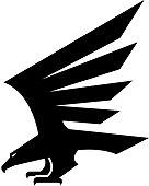 Black eagle geometric heraldic vector icon