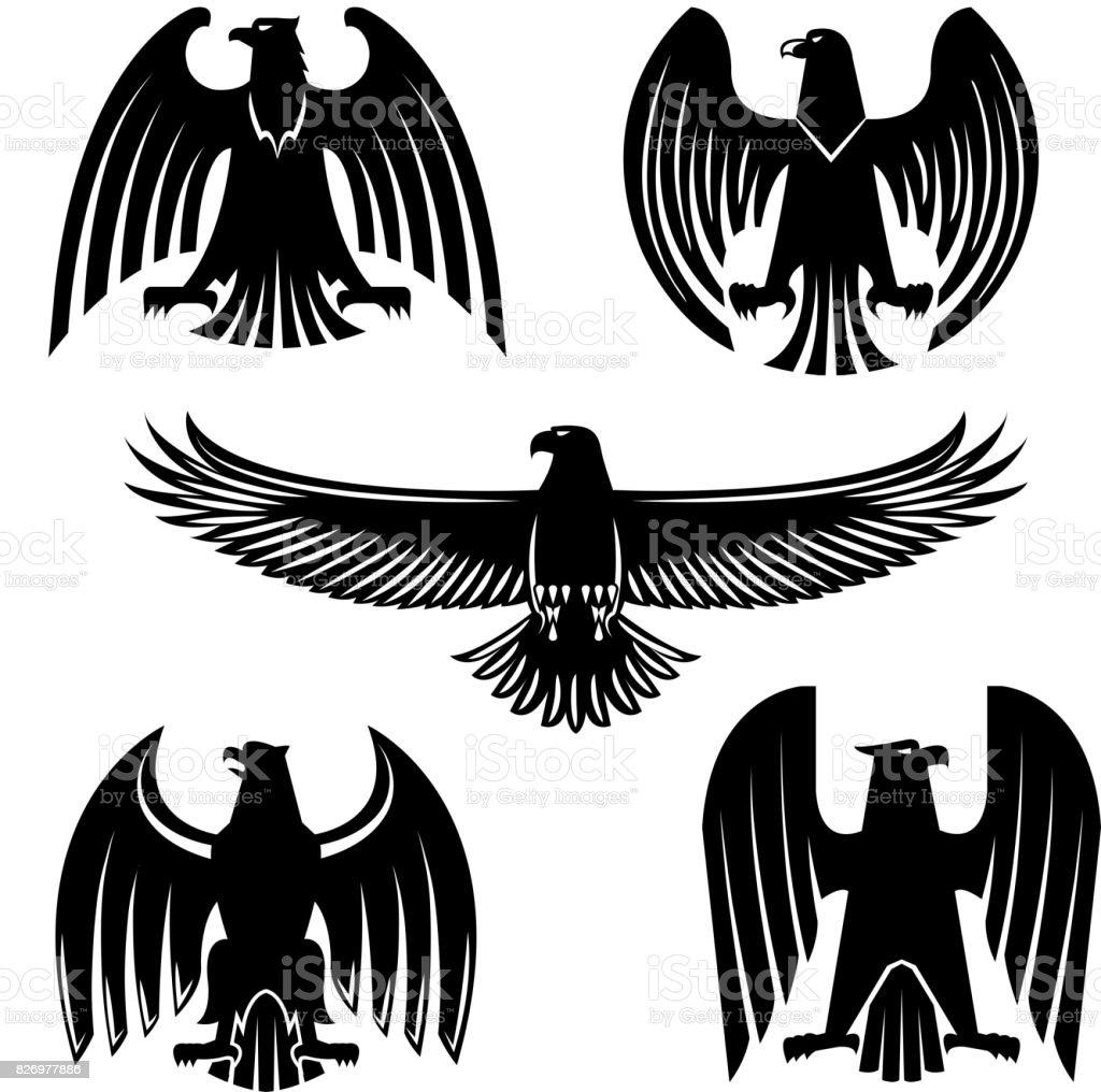 648160df0 Black Eagle Hawk Or Falcon Heraldic Symbol Set Stock Vector Art ...