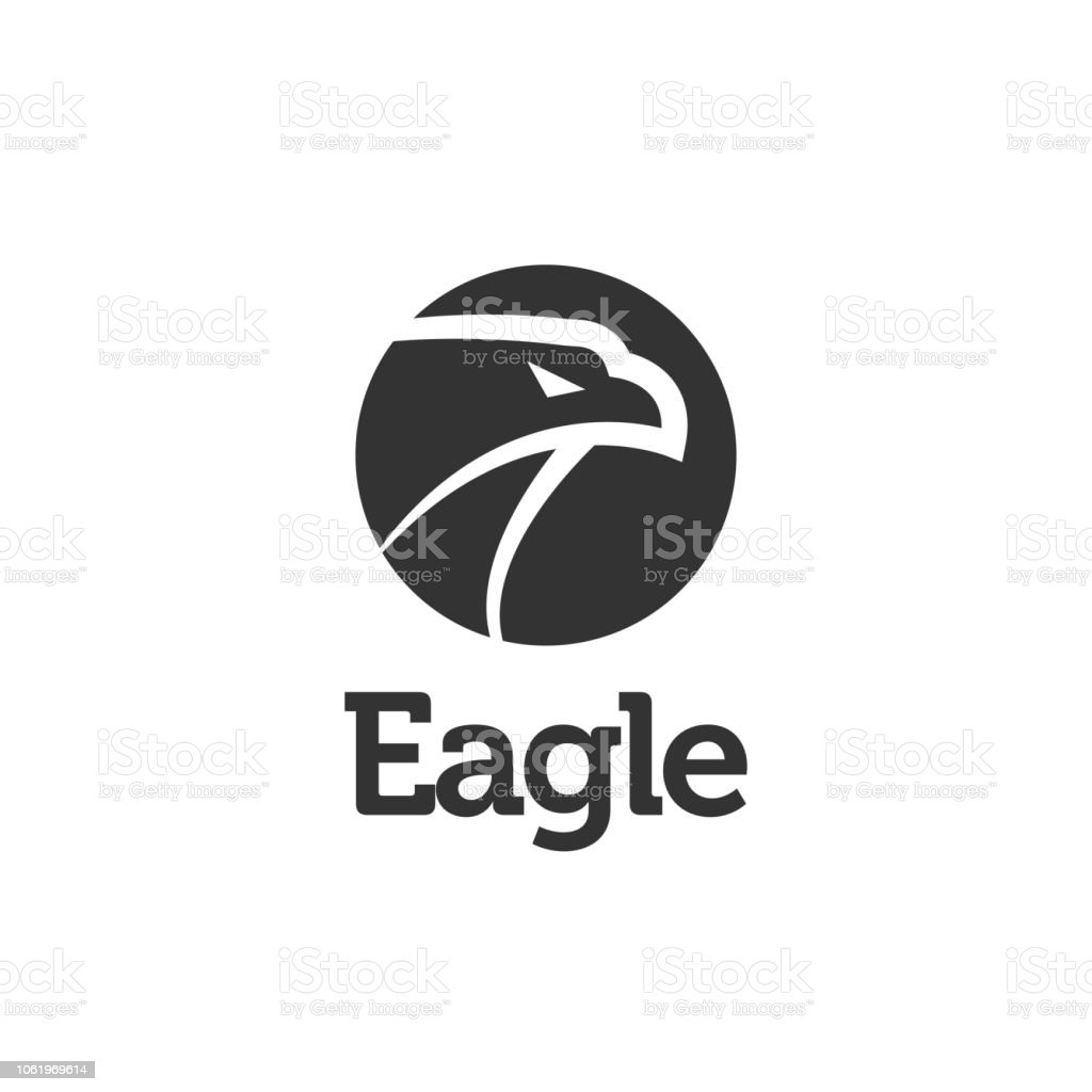 black eagle logo icon design template vector illustration stock