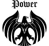 Black eagle round symbol for heraldic design