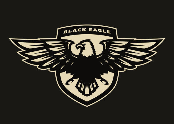 illustrations, cliparts, dessins animés et icônes de symbole de l'aigle noir, emblème. - aigle