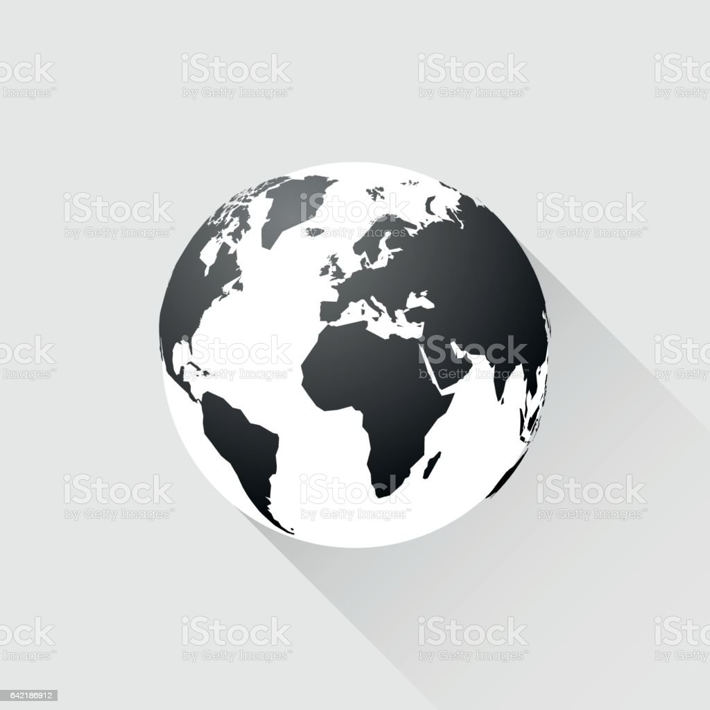 black earth with long shadow vector art illustration
