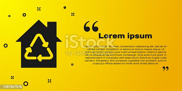 istock Black Eco House with recycling symbol icon isolated on yellow background. Ecology home with recycle arrows. Vector 1297947318