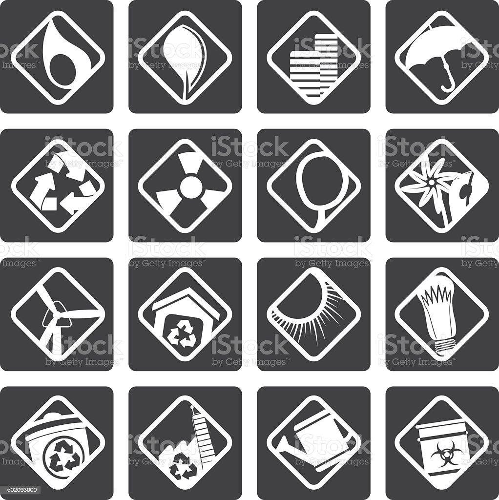 Black Ecology icons vector art illustration