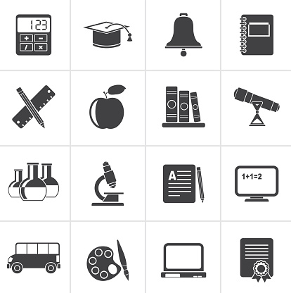 Black Education and school objects icons - vector icon set