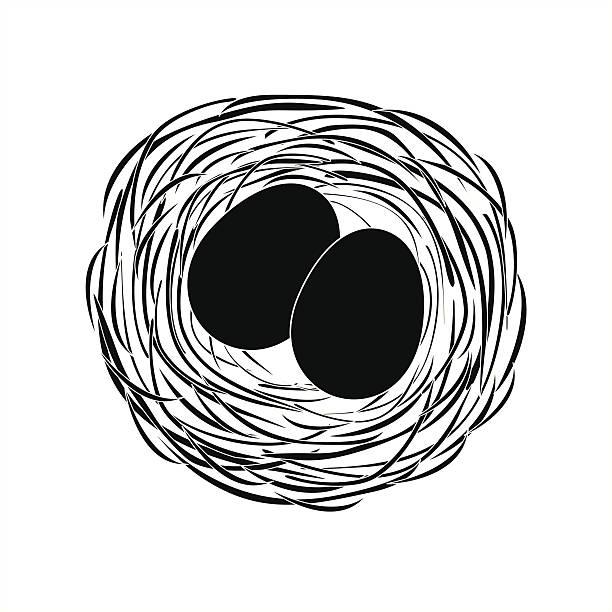 stockillustraties, clipart, cartoons en iconen met black eggs in a nest - fresh start yellow