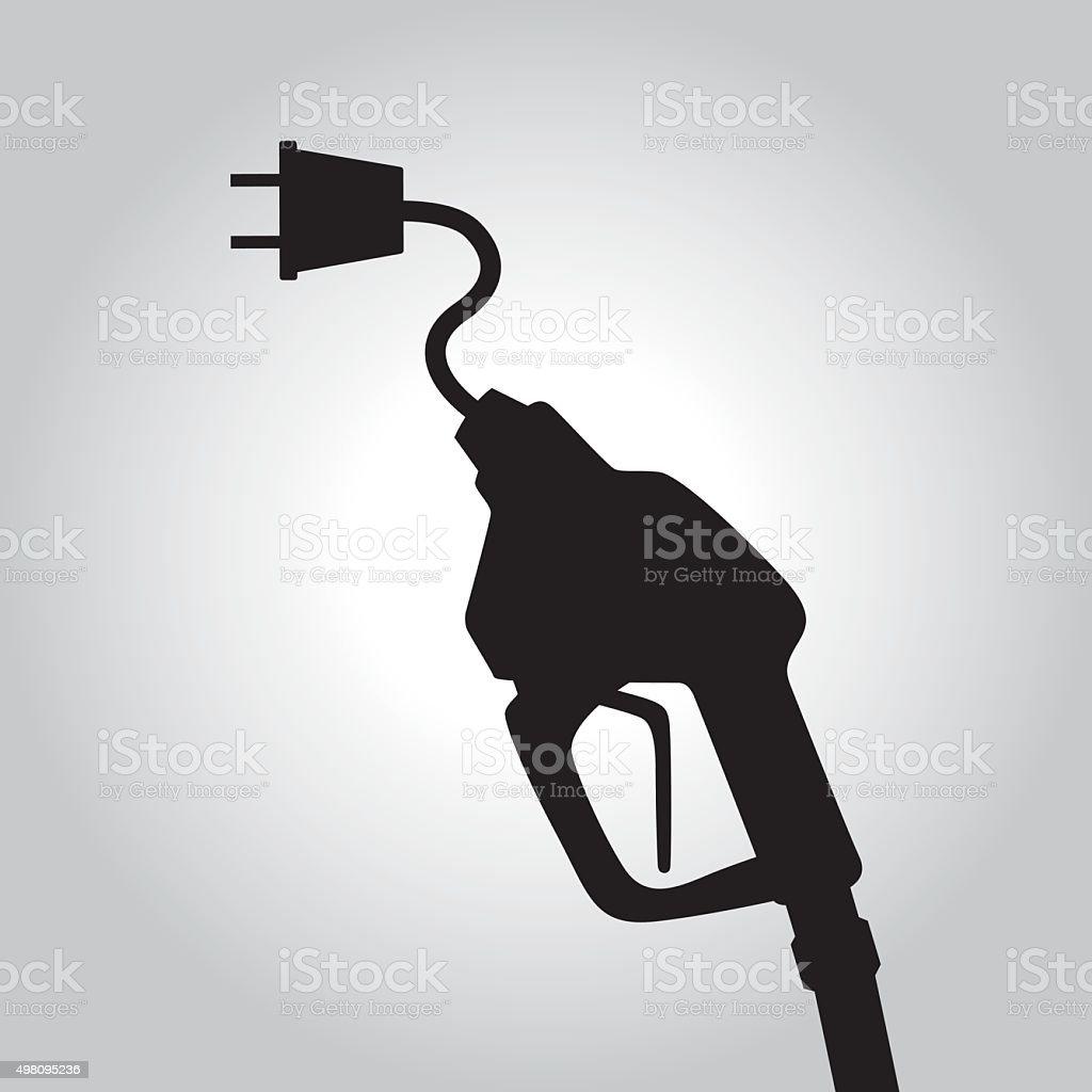 Black Electric Gas Pump vector art illustration