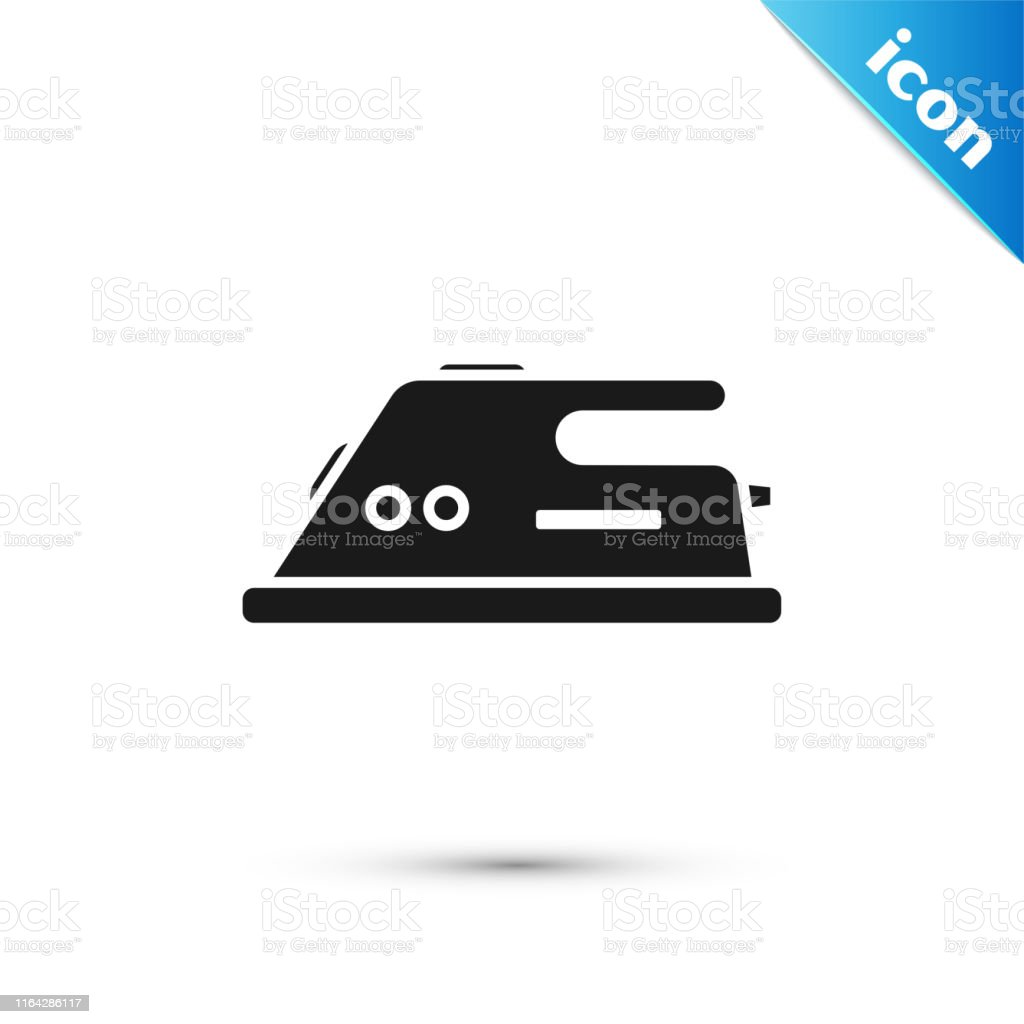 Black Electric Iron Icon Isolated On White Background Steam