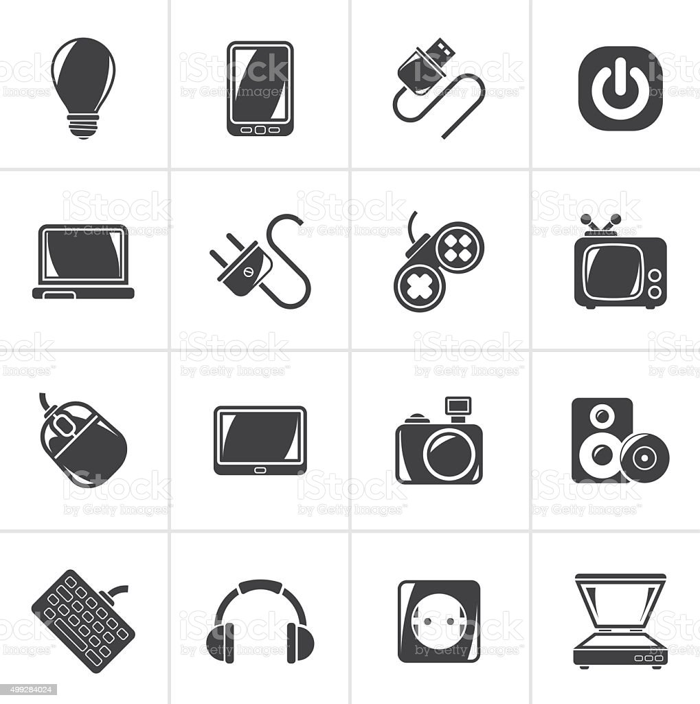 Black Electronic Devices objects icons vector art illustration