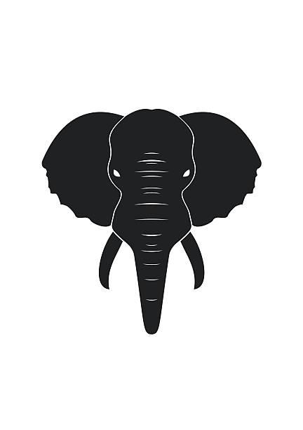 schwarz elefanten in flache, isoliert auf weißem hintergrund. - stammes tattoos stock-grafiken, -clipart, -cartoons und -symbole