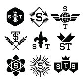 emblems with helmet, shield, arrow, atom