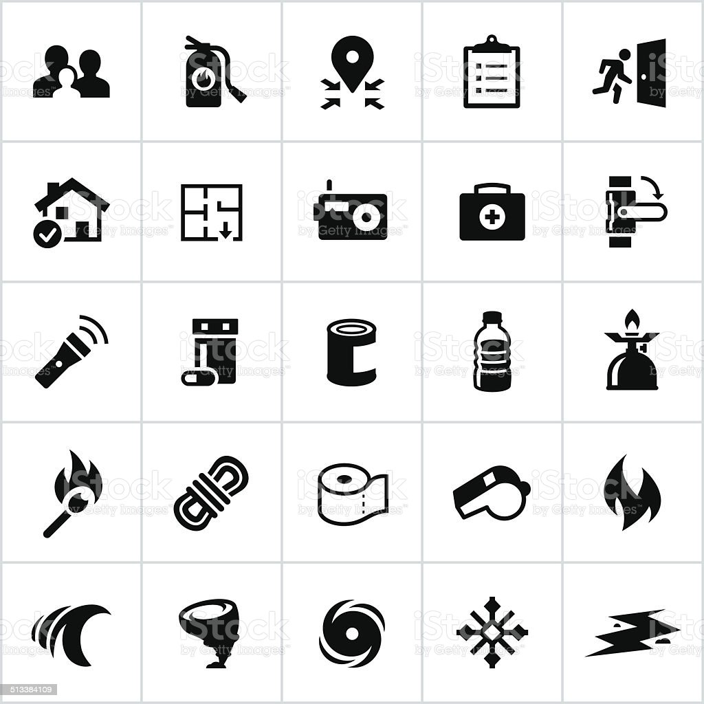 Black Emergency Preparedness Icons vector art illustration