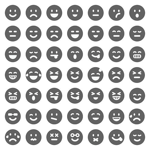 black emoji collection - happy emoji stock illustrations, clip art, cartoons, & icons