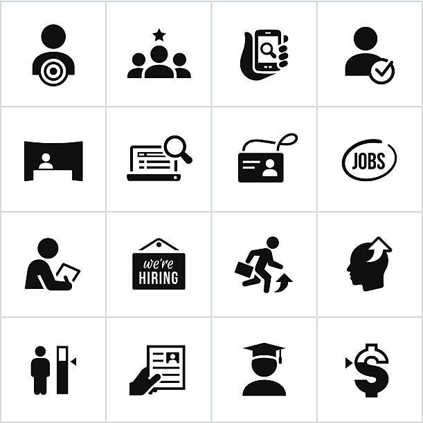 Black Employment Icons vector art illustration