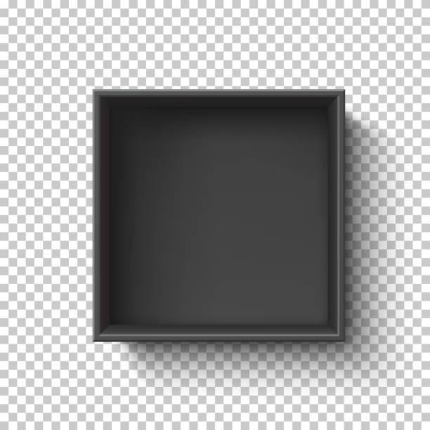 Black empty box on transparent background. Top view. vector art illustration