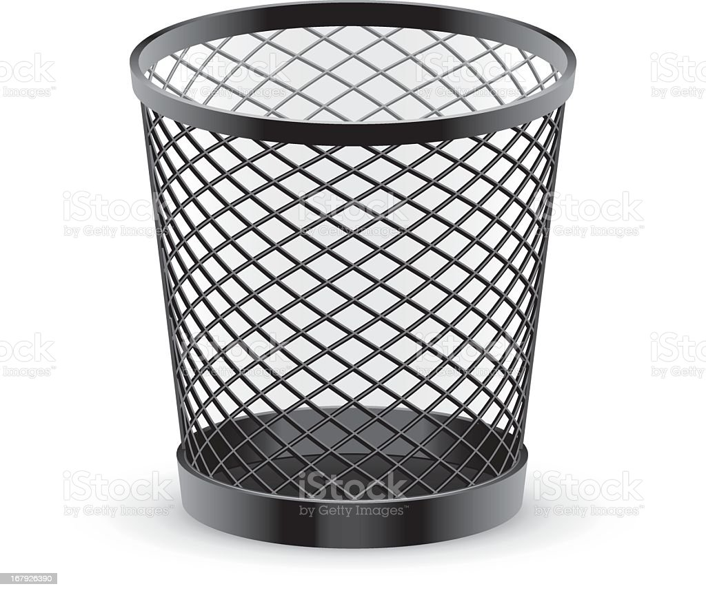 Black empty metal mesh trash can royalty-free black empty metal mesh trash can stock vector art & more images of container
