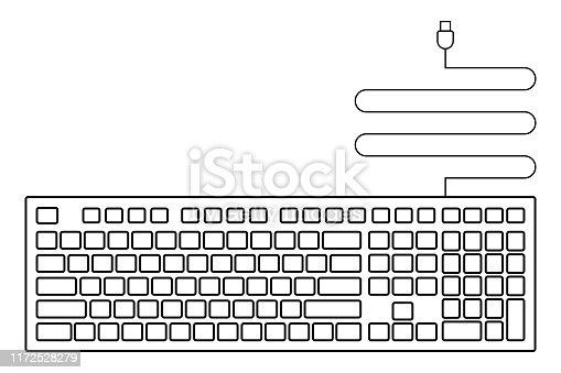 black empty usb keyboard icon for design.