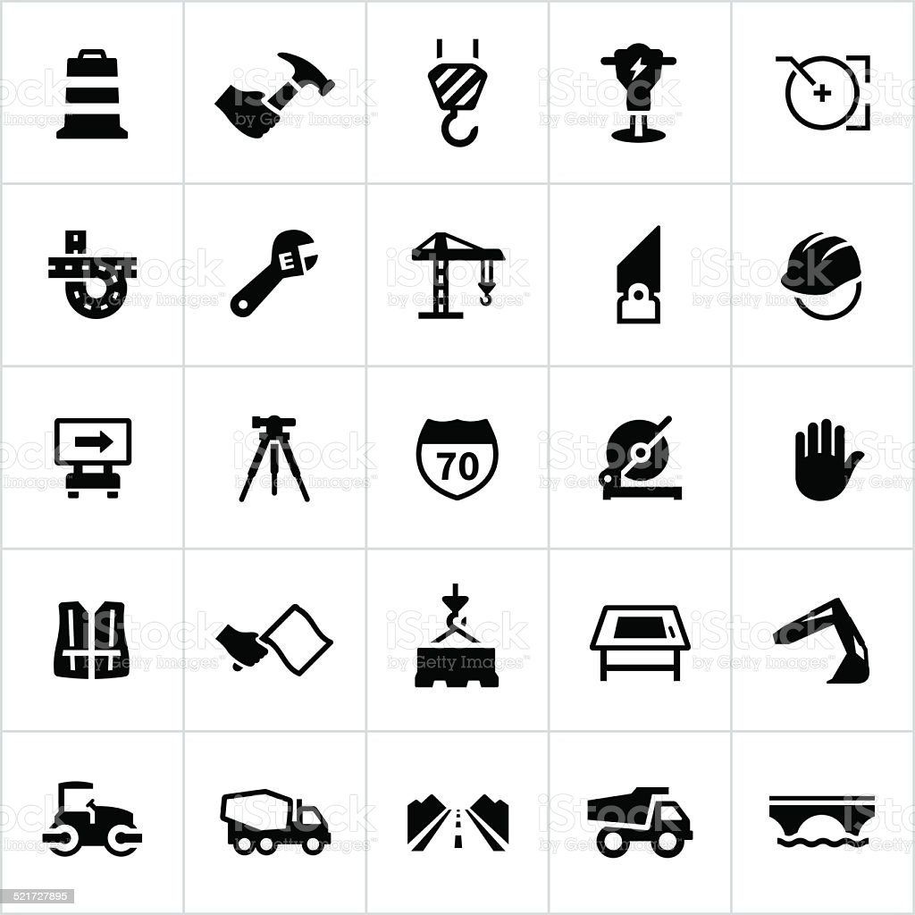 Black Engineering And Construction Icons vector art illustration