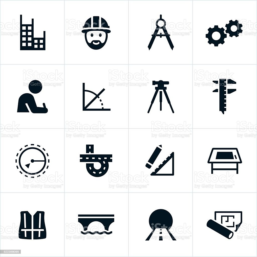 Black Engineering Icons vector art illustration