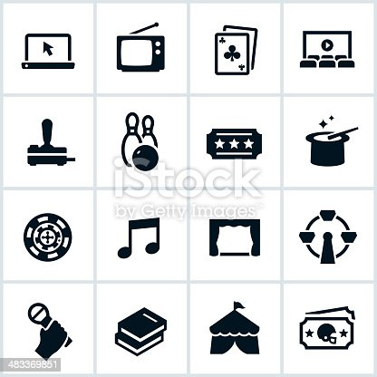 Entertainment icons. Entertainment icons include television, media, movies, shows, and other recreational activities.