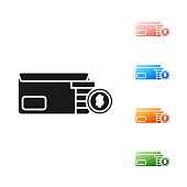 Black Envelope with coin dollar symbol icon isolated on white background. Salary increase, money payroll, compensation income. Set icons colorful. Vector Illustration