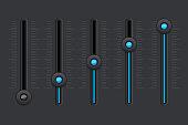 Black equalizer with blue slider buttons
