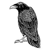 Black evil raven for halloween theme tattoo and t-shirt design. Vintage crow symbol of gothic, halloween, fear. Hunter bird. Great for greeting cards, invitations, for printing on T-shirts and more