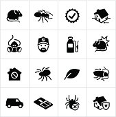 Exterminator/pest control icons. All white strokes/shapes are cut from the icons and merged allowing the background to show through.