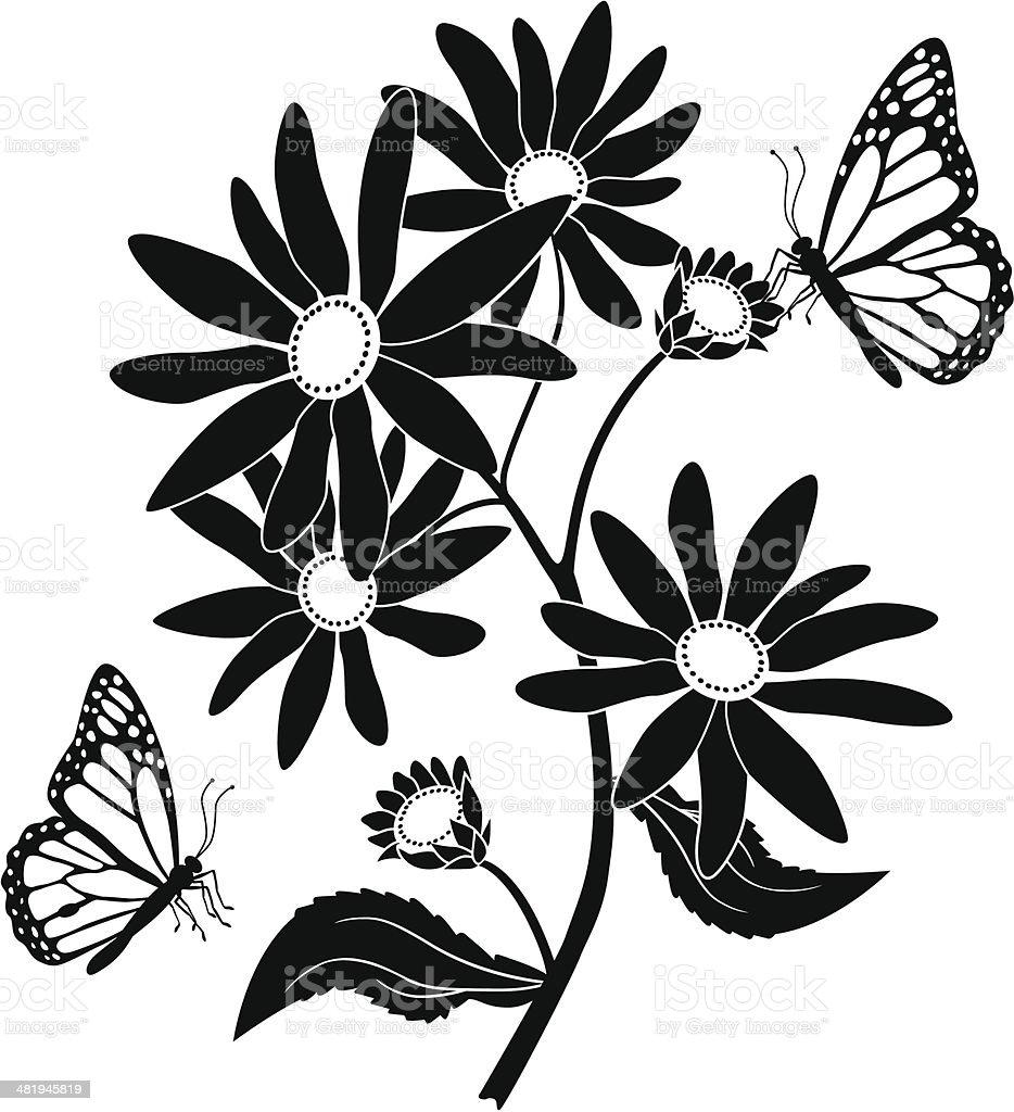 black eyed susan and monarch butterflies stock vector art