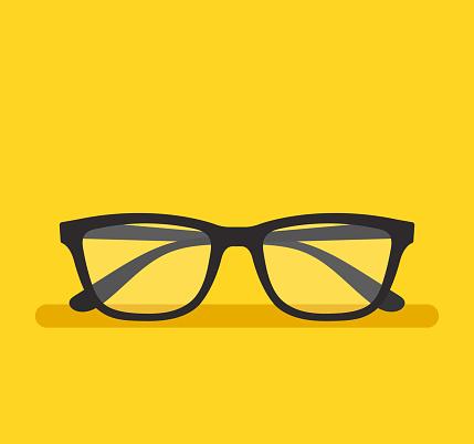 Black eyeglass on empty background. Vector flat cartoon graphic design element isolated icon