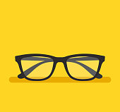 Black eyeglass on empty background. Vector flat cartoon graphic design element isolated
