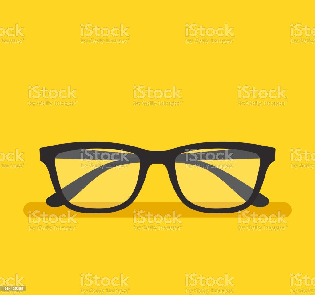 Black eyeglass on empty background. Vector flat cartoon graphic design element isolated icon vector art illustration