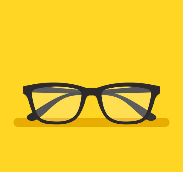 black eyeglass on empty background. vector flat cartoon graphic design element isolated icon - okulary stock illustrations