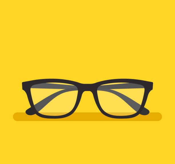 Black eyeglass on empty background. Vector flat cartoon graphic design element isolated icon Black eyeglass on empty background. Vector flat cartoon graphic design element isolated eyewear stock illustrations