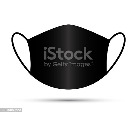 Black Face Mask. Protective individual anti dust face mask - stock vector