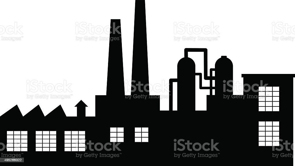 Black factory icon vector art illustration