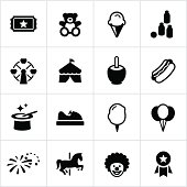 Fair/Festival icons. All white strokes/shapes are cut from the icons and merged allowing the background to show through.