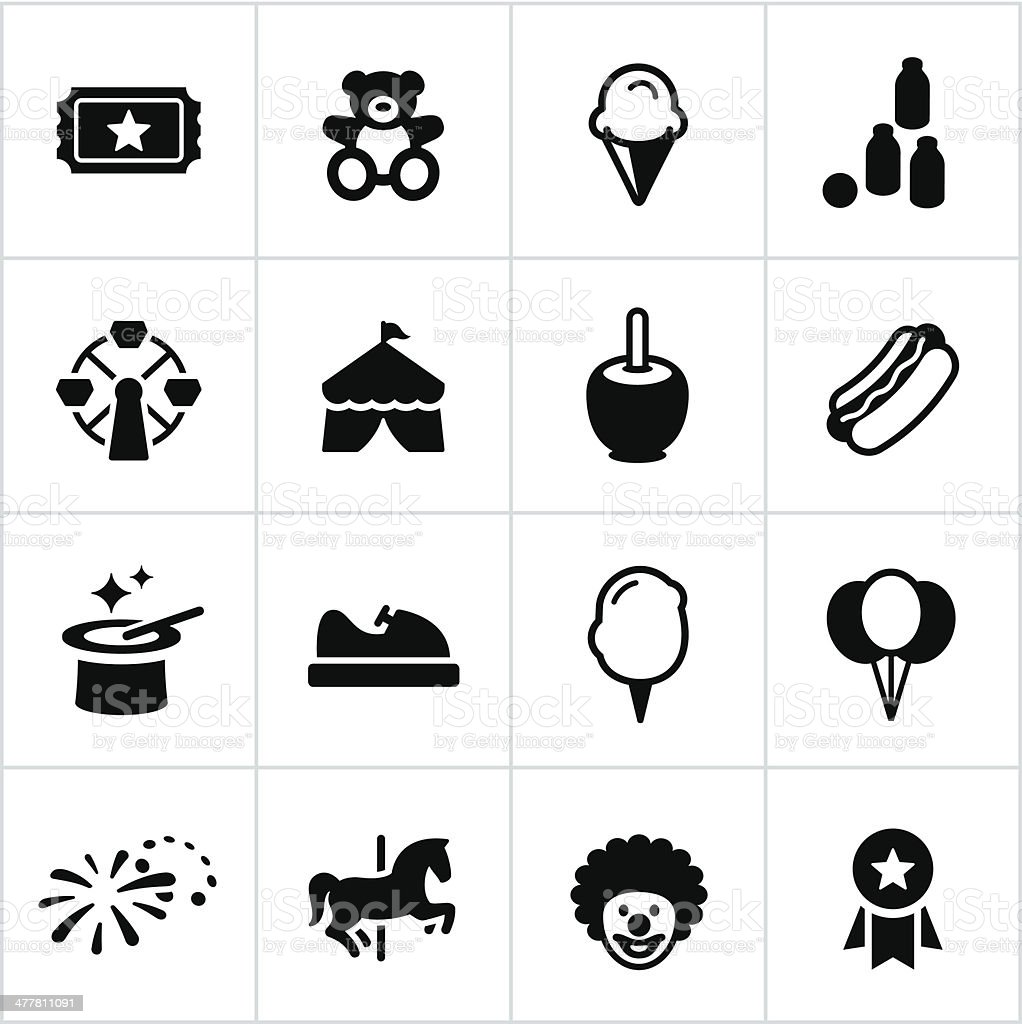 Feria de iconos negro - ilustración de arte vectorial