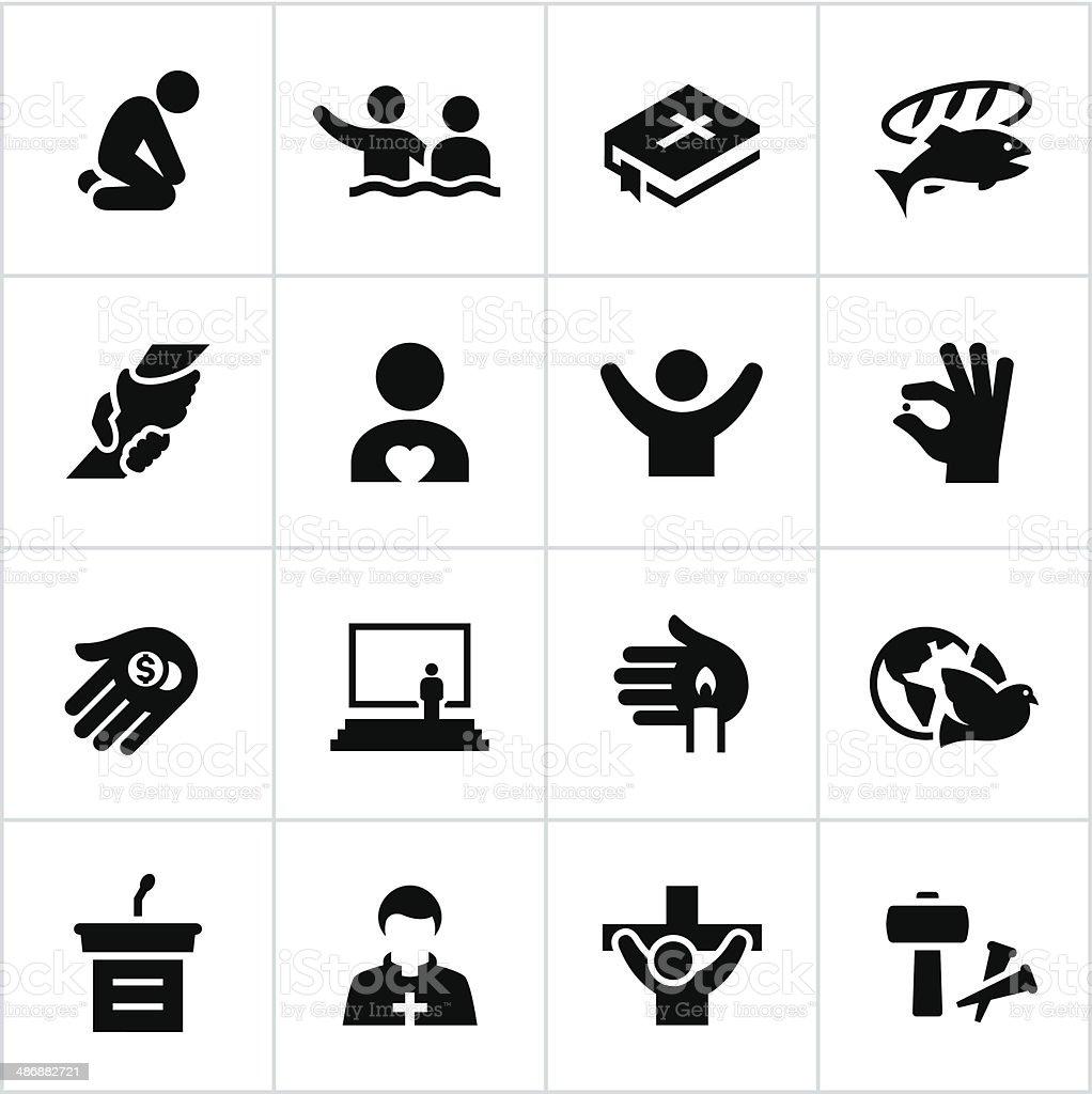 Fé ícones preto - ilustração de arte vetorial
