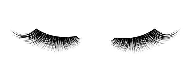黑色假睫毛。睫毛膏的單一裝飾元素。 - 睫毛 幅插畫檔、美工圖案、卡通及圖標
