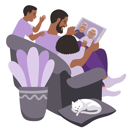 Black family in a video call with seniors